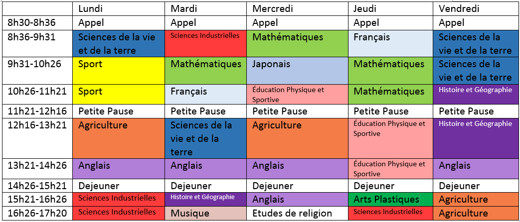 Sample french timetable bonjour!